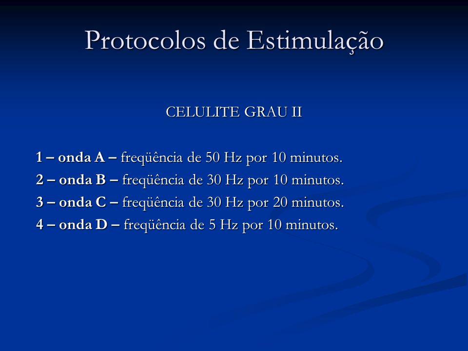 Protocolos de Estimulação CELULITE GRAU II 1 – onda A – freqüência de 50 Hz por 10 minutos. 2 – onda B – freqüência de 30 Hz por 10 minutos. 3 – onda