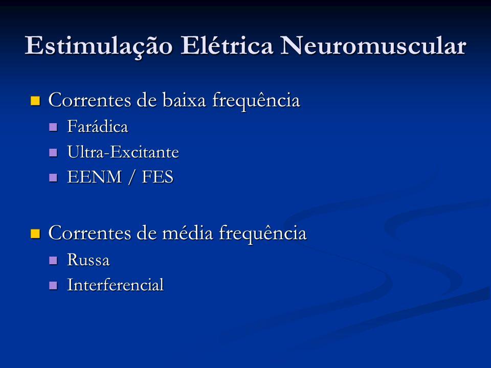 Correntes de baixa frequência Correntes de baixa frequência Farádica Farádica Ultra-Excitante Ultra-Excitante EENM / FES EENM / FES Correntes de média