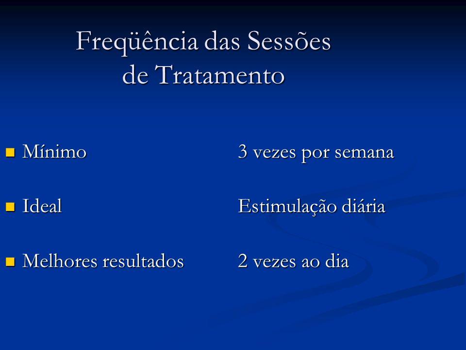 Freqüência das Sessões de Tratamento Mínimo3 vezes por semana Mínimo3 vezes por semana IdealEstimulação diária IdealEstimulação diária Melhores result