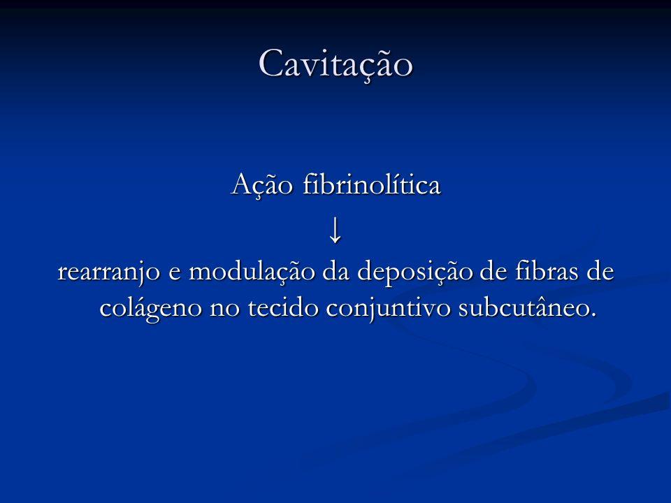 Cavitação Ação fibrinolítica rearranjo e modulação da deposição de fibras de colágeno no tecido conjuntivo subcutâneo.