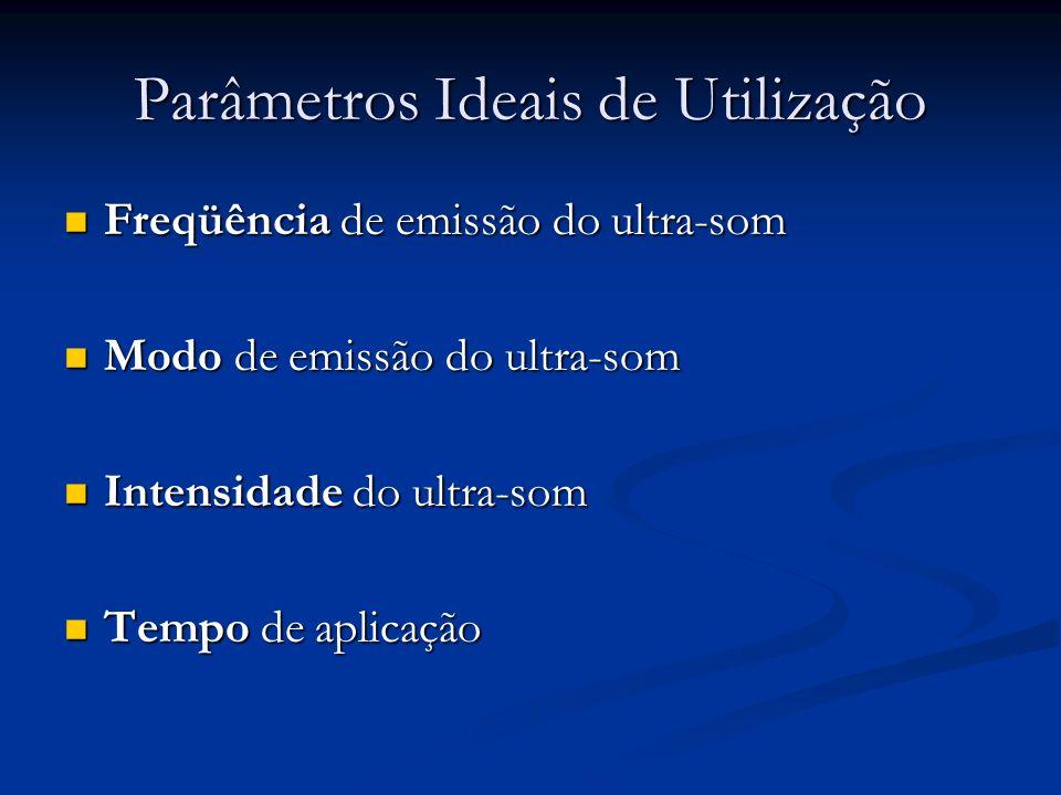 Parâmetros Ideais de Utilização Freqüência de emissão do ultra-som Freqüência de emissão do ultra-som Modo de emissão do ultra-som Modo de emissão do