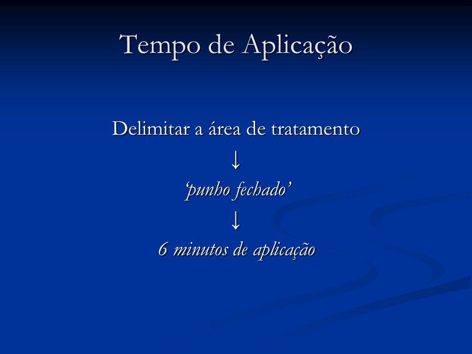 Tempo de Aplicação Delimitar a área de tratamento punho fechado 6 minutos de aplicação