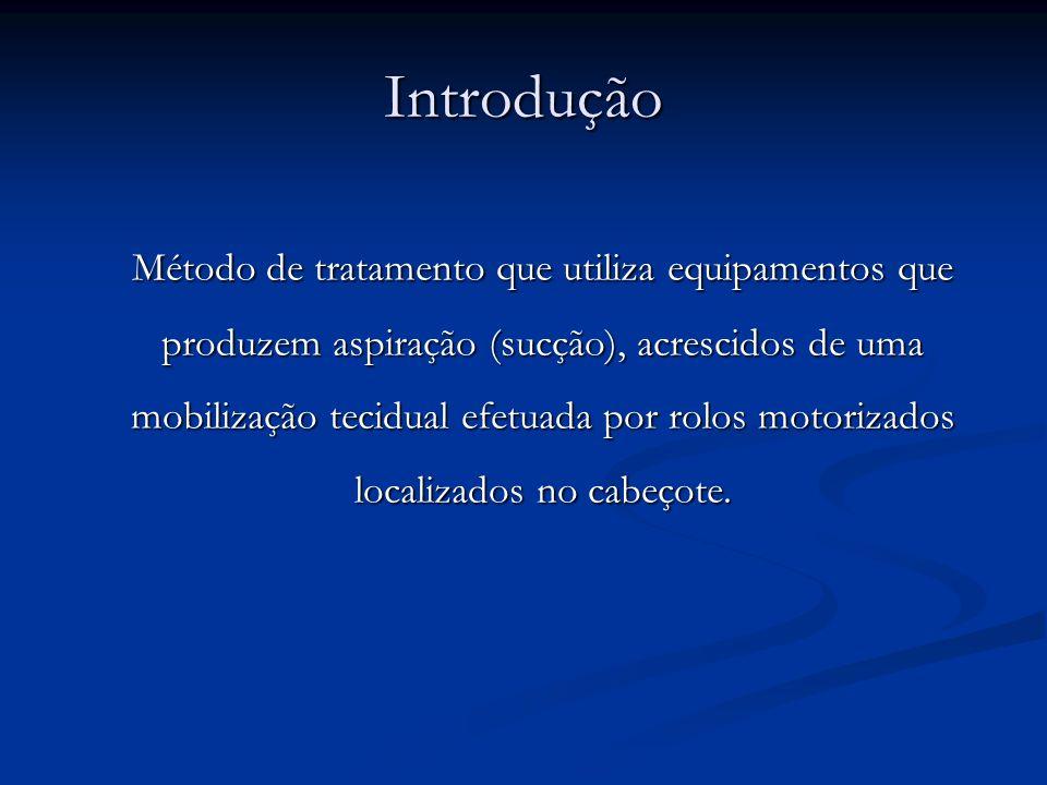 Introdução Método de tratamento que utiliza equipamentos que produzem aspiração (sucção), acrescidos de uma mobilização tecidual efetuada por rolos mo