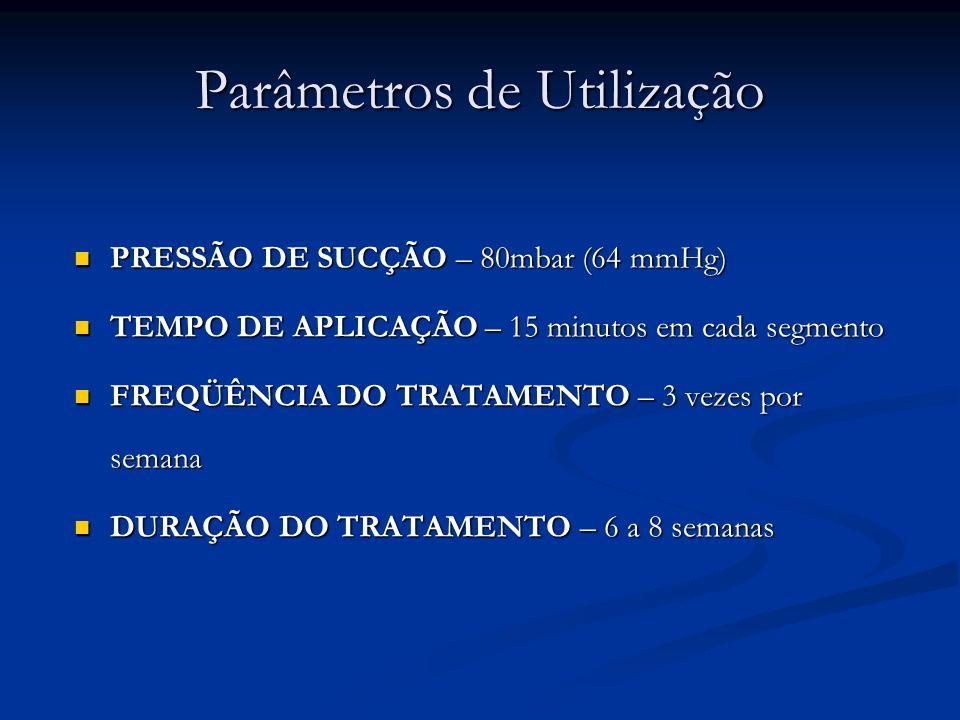 Parâmetros de Utilização PRESSÃO DE SUCÇÃO – 80mbar (64 mmHg) PRESSÃO DE SUCÇÃO – 80mbar (64 mmHg) TEMPO DE APLICAÇÃO – 15 minutos em cada segmento TE
