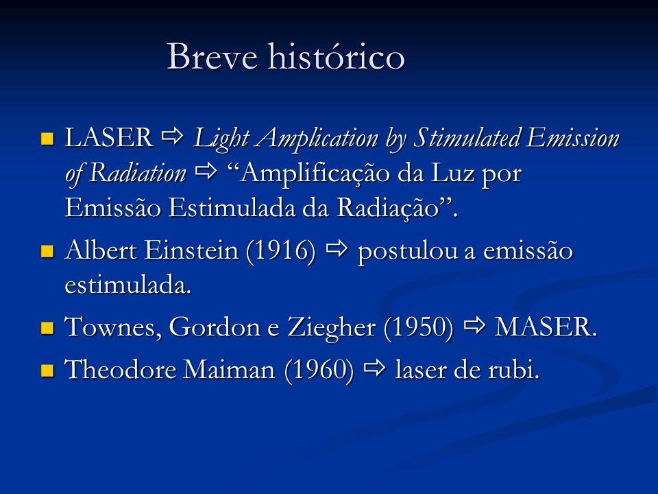 Breve histórico LASER Light Amplication by Stimulated Emission of Radiation Amplificação da Luz por Emissão Estimulada da Radiação. LASER Light Amplic