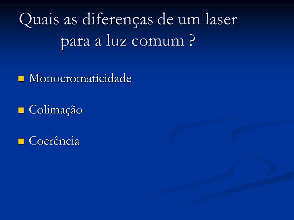 Quais as diferenças de um laser para a luz comum ? Monocromaticidade Monocromaticidade Colimação Colimação Coerência Coerência