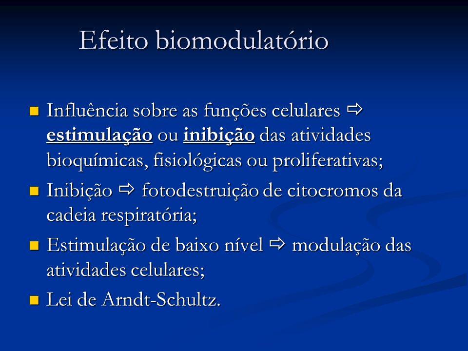 Efeito biomodulatório Influência sobre as funções celulares estimulação ou inibição das atividades bioquímicas, fisiológicas ou proliferativas; Influê