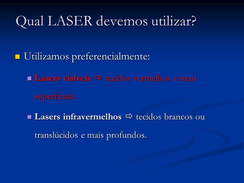 Qual LASER devemos utilizar? Utilizamos preferencialmente: Utilizamos preferencialmente: Lasers visíveis tecidos vermelhos e mais superficiais. Lasers