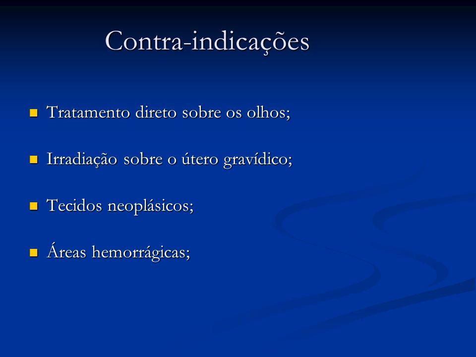 Contra-indicações Tratamento direto sobre os olhos; Tratamento direto sobre os olhos; Irradiação sobre o útero gravídico; Irradiação sobre o útero gra