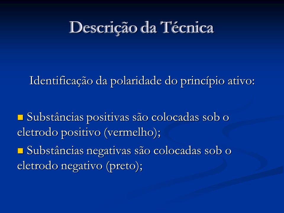 Descrição da Técnica Identificação da polaridade do princípio ativo: Substâncias positivas são colocadas sob o eletrodo positivo (vermelho); Substânci