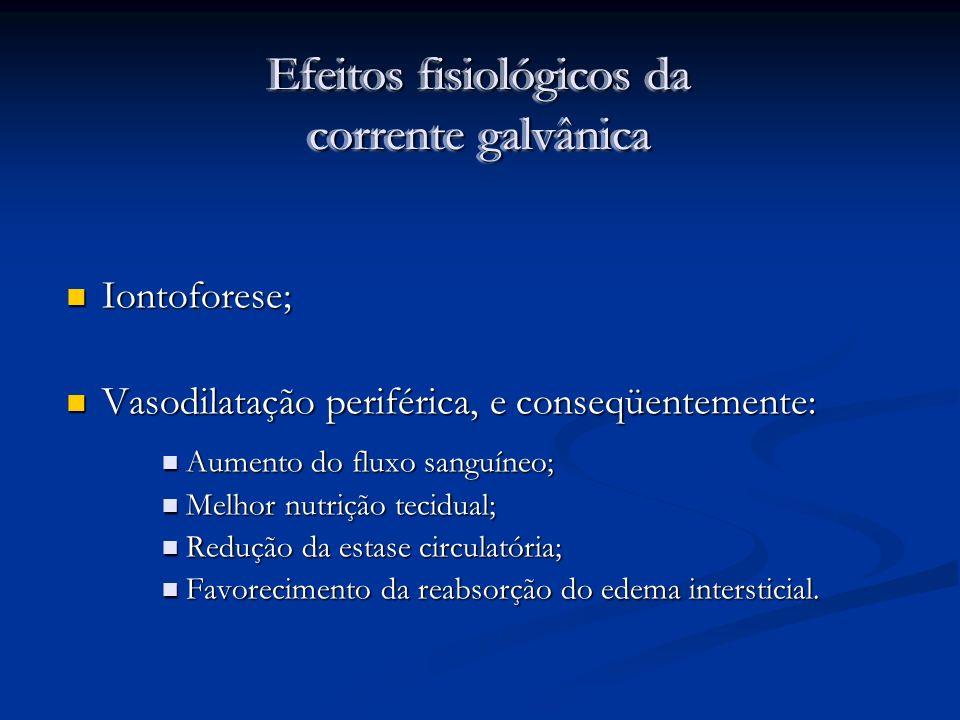 Efeitos fisiológicos da corrente galvânica Iontoforese; Iontoforese; Vasodilatação periférica, e conseqüentemente: Vasodilatação periférica, e conseqü