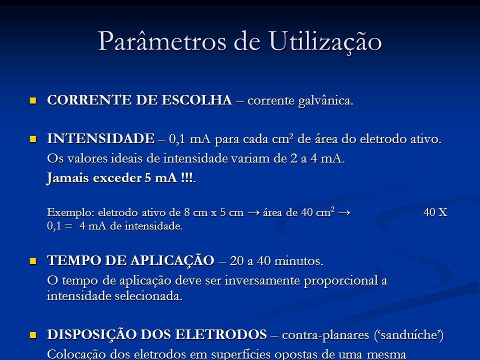 Parâmetros de Utilização CORRENTE DE ESCOLHA – corrente galvânica. CORRENTE DE ESCOLHA – corrente galvânica. INTENSIDADE – 0,1 mA para cada cm² de áre