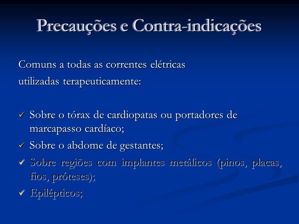 Precauções e Contra-indicações Comuns a todas as correntes elétricas utilizadas terapeuticamente: Sobre o tórax de cardiopatas ou portadores de marcap