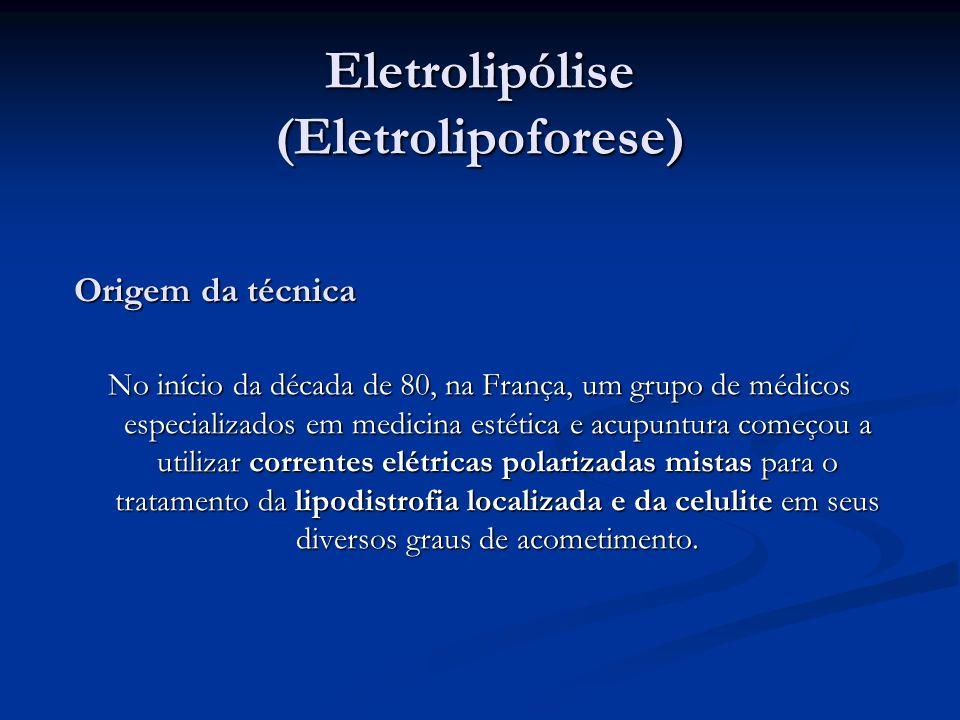 Eletrolipólise (Eletrolipoforese) Origem da técnica No início da década de 80, na França, um grupo de médicos especializados em medicina estética e ac