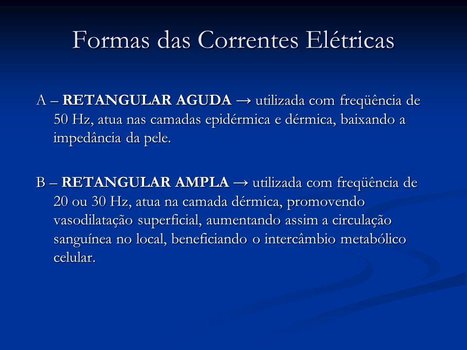Formas das Correntes Elétricas A – RETANGULAR AGUDA utilizada com freqüência de 50 Hz, atua nas camadas epidérmica e dérmica, baixando a impedância da