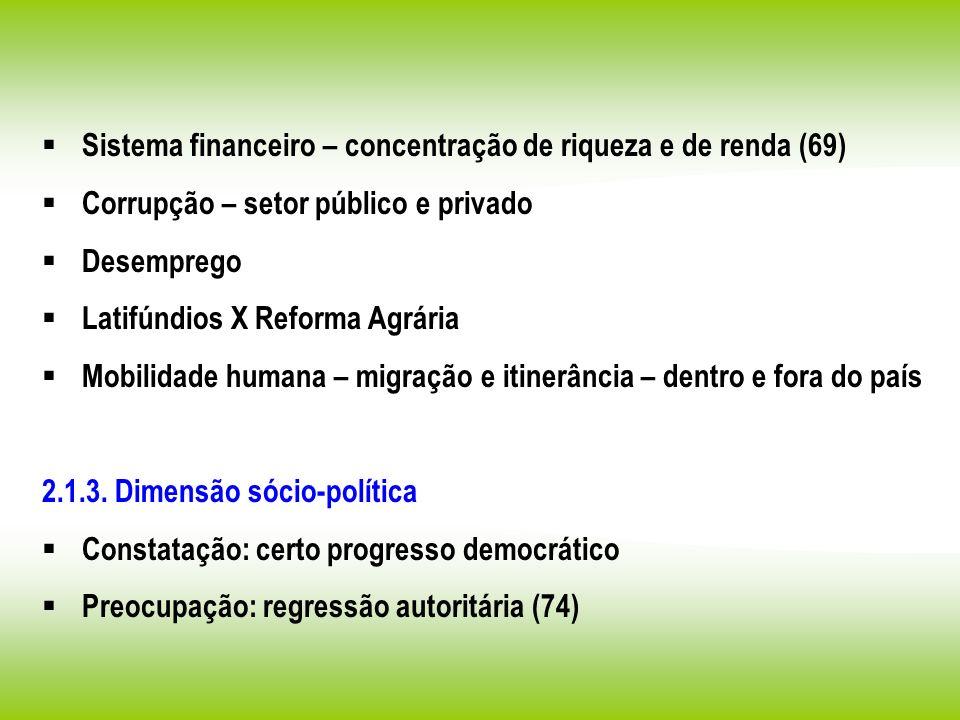 Sistema financeiro – concentração de riqueza e de renda (69) Corrupção – setor público e privado Desemprego Latifúndios X Reforma Agrária Mobilidade h