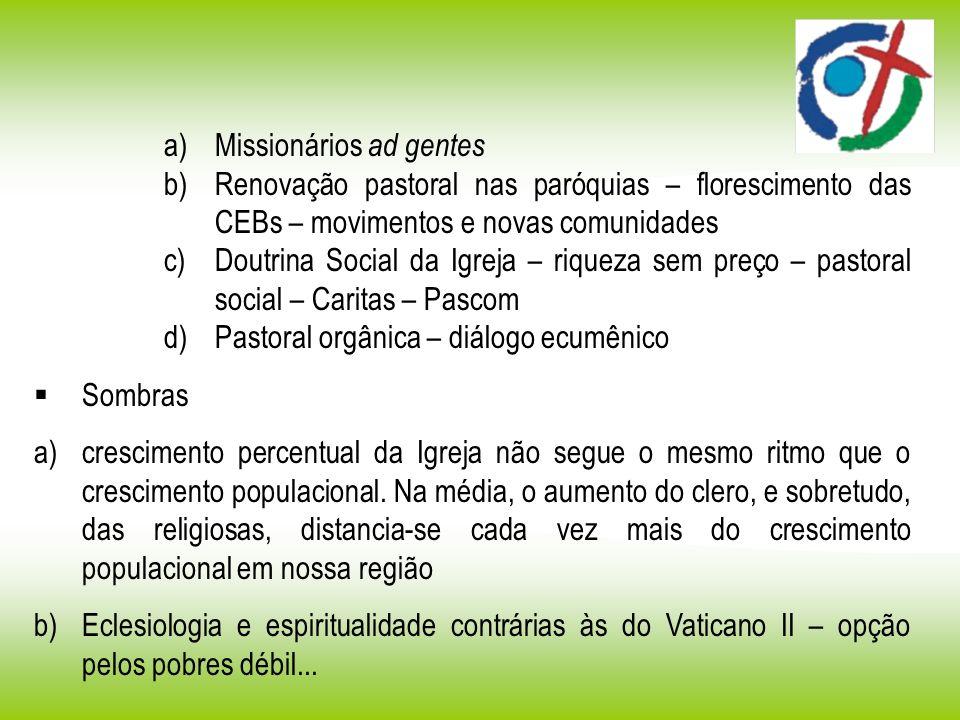 a)Missionários ad gentes b)Renovação pastoral nas paróquias – florescimento das CEBs – movimentos e novas comunidades c)Doutrina Social da Igreja – ri
