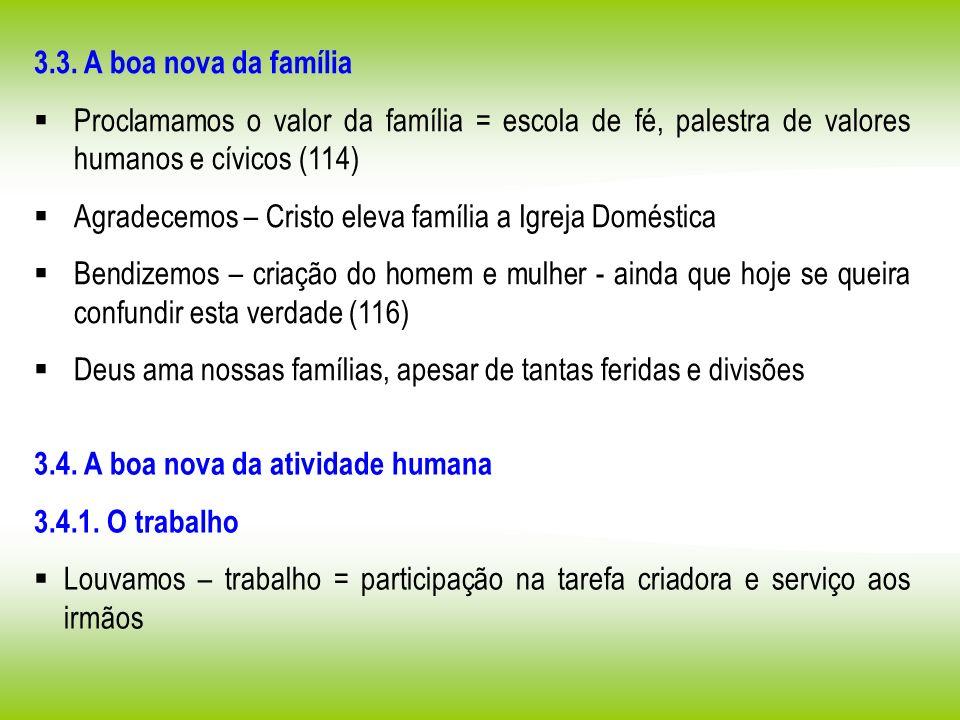 3.3. A boa nova da família Proclamamos o valor da família = escola de fé, palestra de valores humanos e cívicos (114) Agradecemos – Cristo eleva famíl