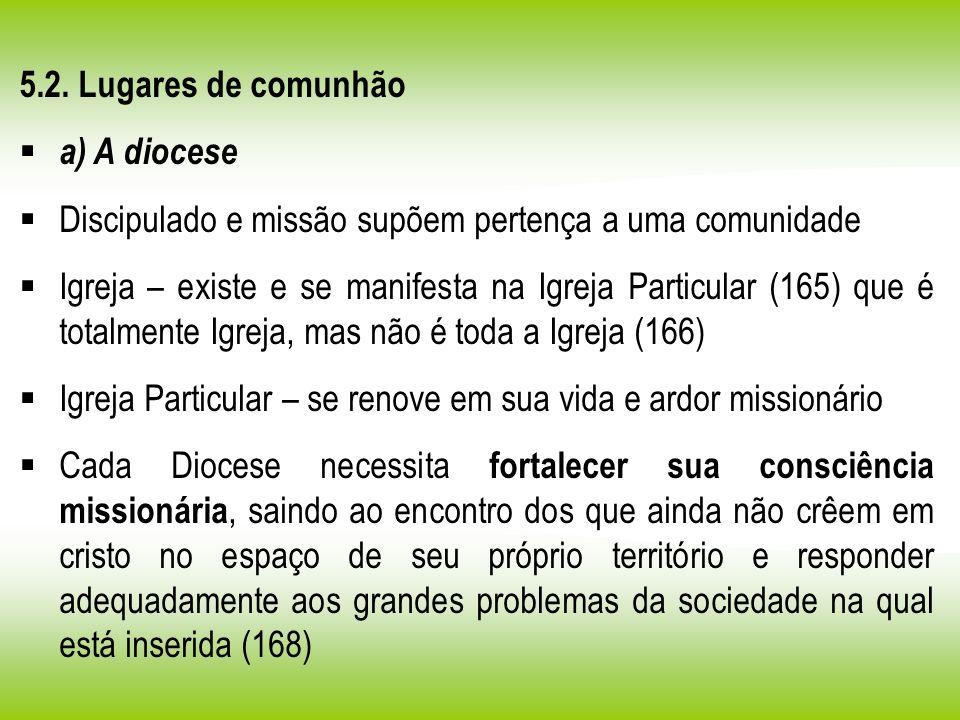 5.2. Lugares de comunhão a) A diocese Discipulado e missão supõem pertença a uma comunidade Igreja – existe e se manifesta na Igreja Particular (165)