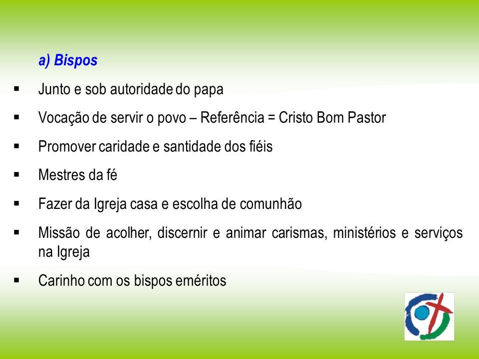 a) Bispos Junto e sob autoridade do papa Vocação de servir o povo – Referência = Cristo Bom Pastor Promover caridade e santidade dos fiéis Mestres da