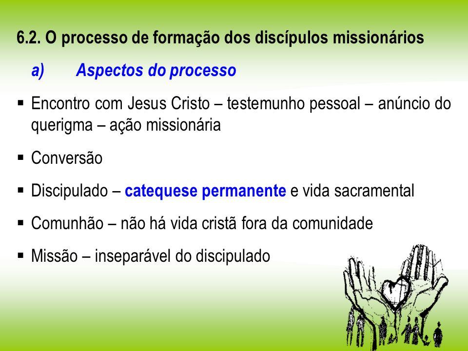 6.2. O processo de formação dos discípulos missionários a) Aspectos do processo Encontro com Jesus Cristo – testemunho pessoal – anúncio do querigma –