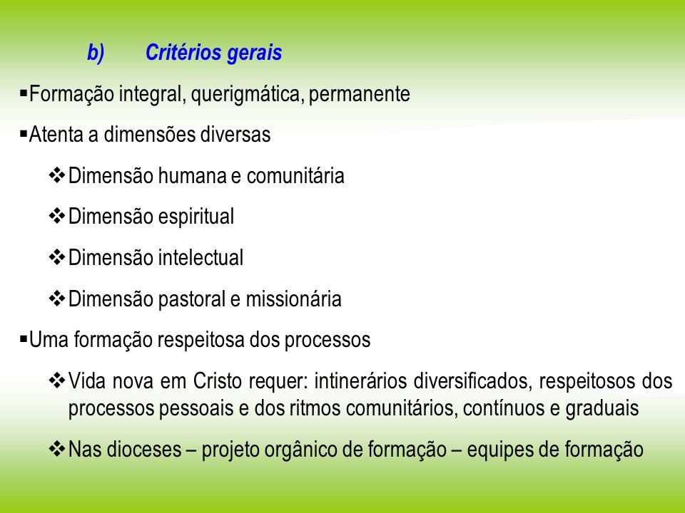 b) Critérios gerais Formação integral, querigmática, permanente Atenta a dimensões diversas Dimensão humana e comunitária Dimensão espiritual Dimensão