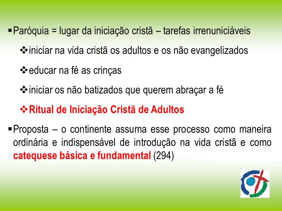 Paróquia = lugar da iniciação cristã – tarefas irrenuniciáveis iniciar na vida cristã os adultos e os não evangelizados educar na fé as crinças inicia