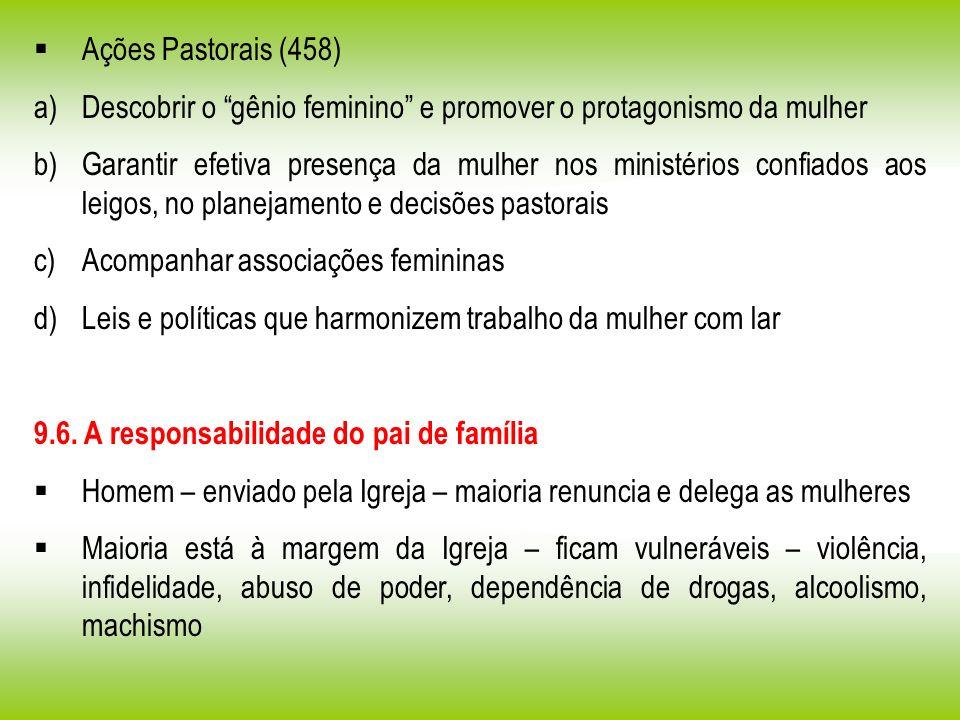 Ações Pastorais (458) a)Descobrir o gênio feminino e promover o protagonismo da mulher b)Garantir efetiva presença da mulher nos ministérios confiados