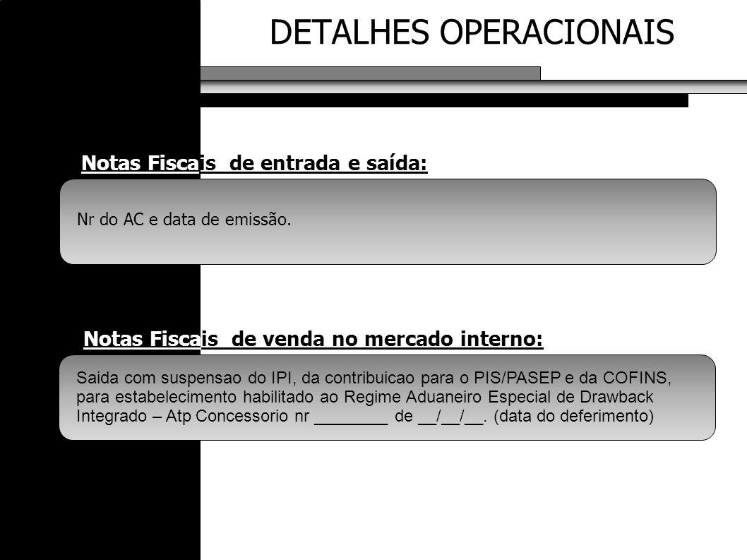 DETALHES OPERACIONAIS Notas Fiscais de entrada e saída: Saida com suspensao do IPI, da contribuicao para o PIS/PASEP e da COFINS, para estabelecimento