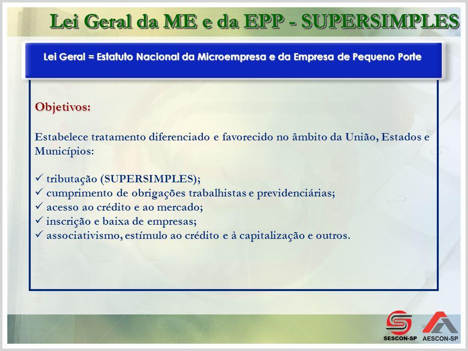 Objetivos: Estabelece tratamento diferenciado e favorecido no âmbito da União, Estados e Municípios: tributação (SUPERSIMPLES); cumprimento de obrigaç