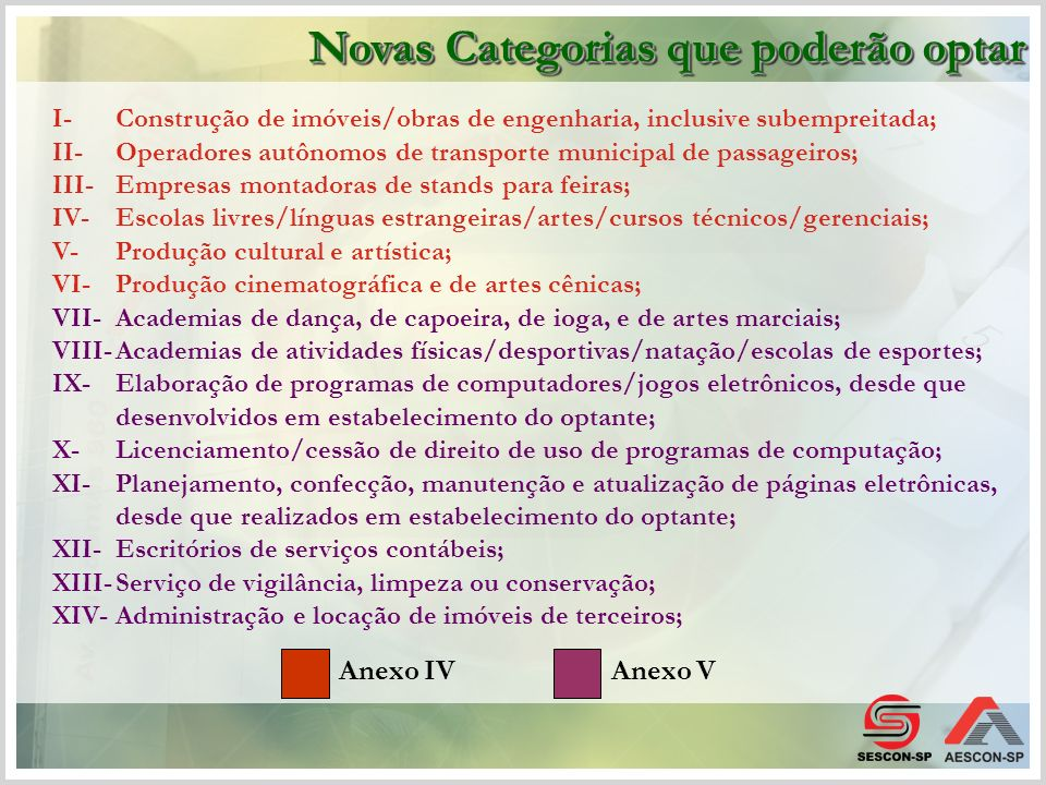 I-Construção de imóveis/obras de engenharia, inclusive subempreitada; II-Operadores autônomos de transporte municipal de passageiros; III-Empresas mon