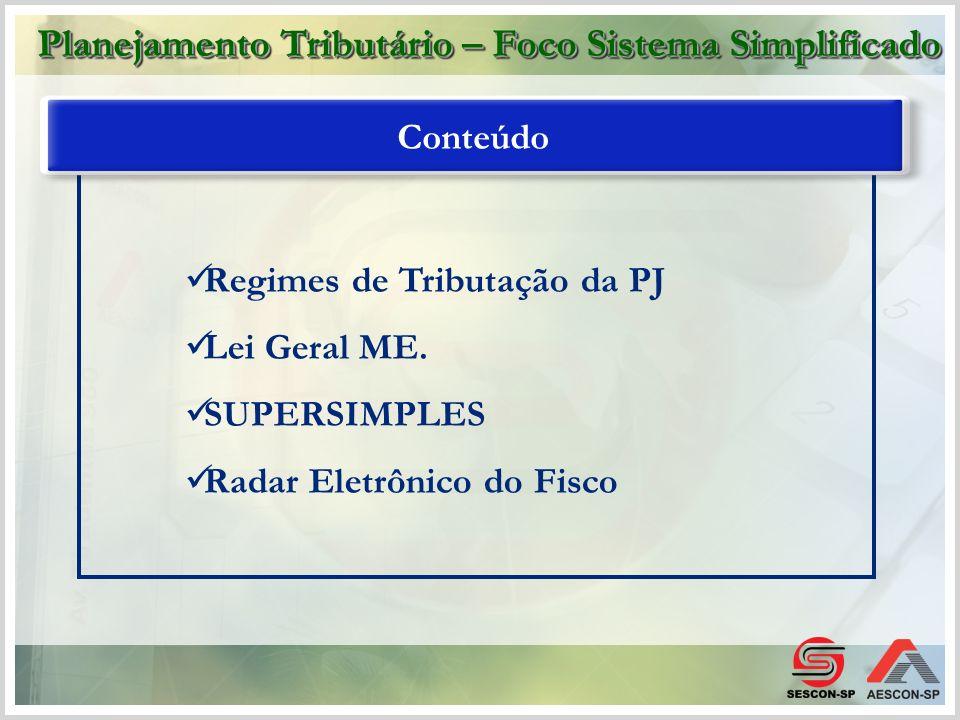Regimes de Tributação da PJ Lei Geral ME. SUPERSIMPLES Radar Eletrônico do Fisco Conteúdo Planejamento Tributário – Foco Sistema Simplificado