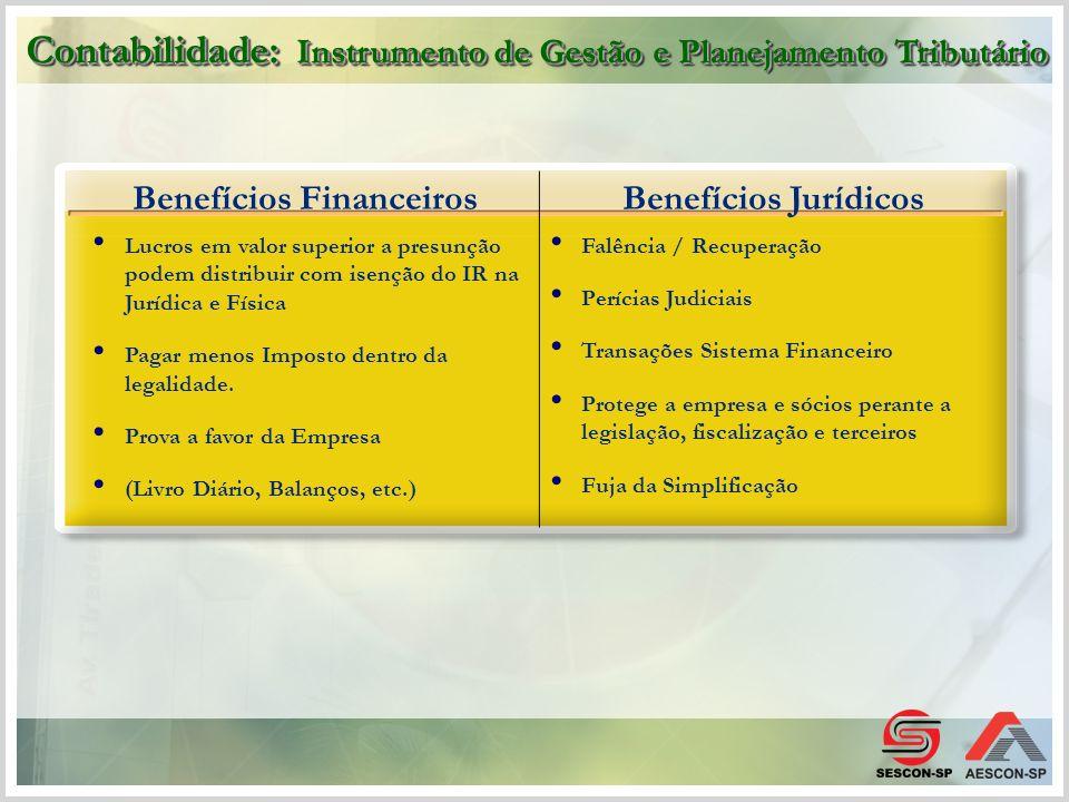Benefícios FinanceirosBenefícios Jurídicos Lucros em valor superior a presunção podem distribuir com isenção do IR na Jurídica e Física Pagar menos Im