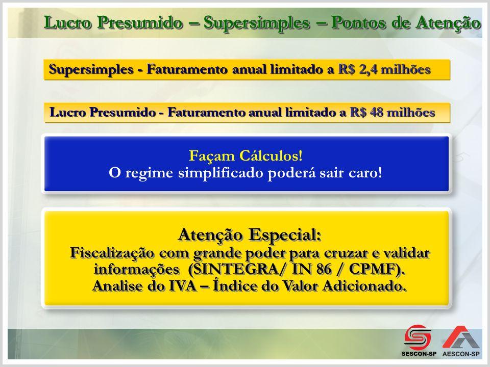 Supersimples - Faturamento anual limitado a R$ 2,4 milhões Façam Cálculos! O regime simplificado poderá sair caro! Atenção Especial: Fiscalização com