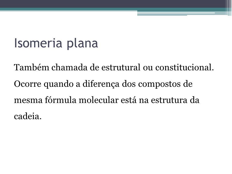 Isomeria plana Também chamada de estrutural ou constitucional. Ocorre quando a diferença dos compostos de mesma fórmula molecular está na estrutura da