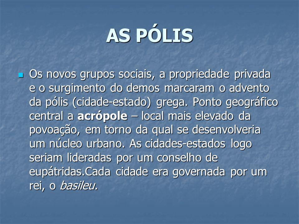 AS PÓLIS Os novos grupos sociais, a propriedade privada e o surgimento do demos marcaram o advento da pólis (cidade-estado) grega. Ponto geográfico ce