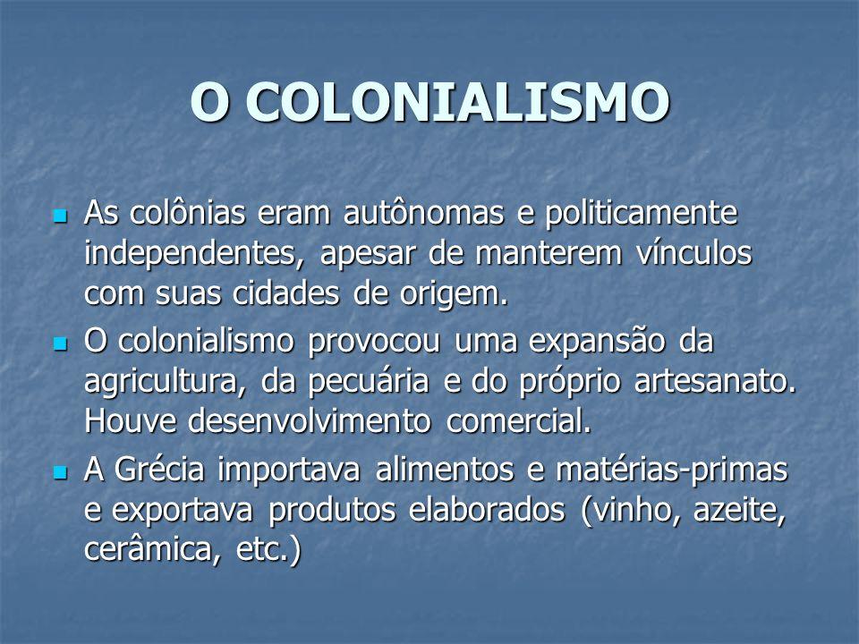 O COLONIALISMO As colônias eram autônomas e politicamente independentes, apesar de manterem vínculos com suas cidades de origem. As colônias eram autô