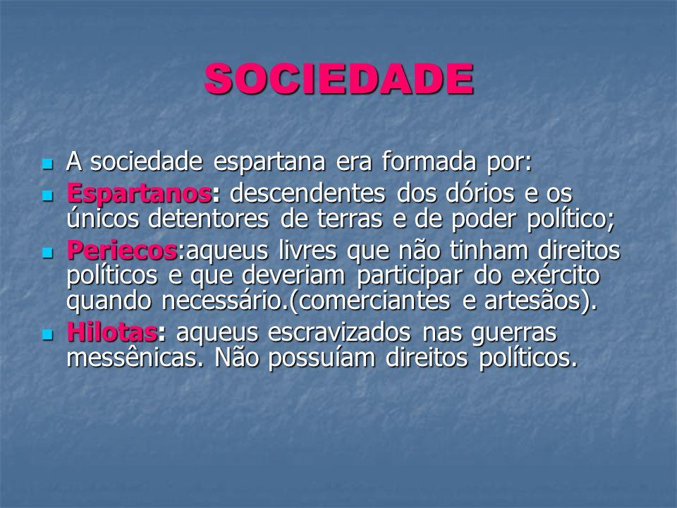 SOCIEDADE A sociedade espartana era formada por: A sociedade espartana era formada por: Espartanos: descendentes dos dórios e os únicos detentores de