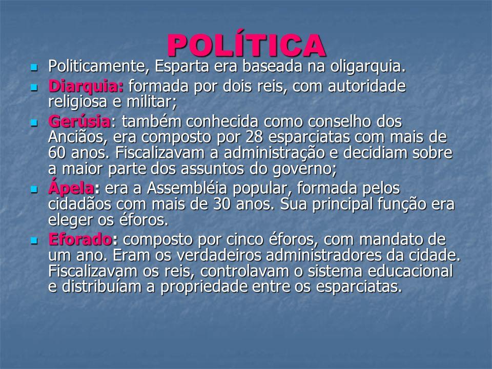 POLÍTICA Politicamente, Esparta era baseada na oligarquia. Politicamente, Esparta era baseada na oligarquia. Diarquia: formada por dois reis, com auto