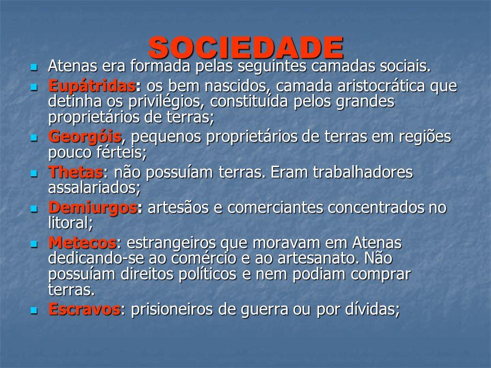SOCIEDADE Atenas era formada pelas seguintes camadas sociais. Atenas era formada pelas seguintes camadas sociais. Eupátridas: os bem nascidos, camada
