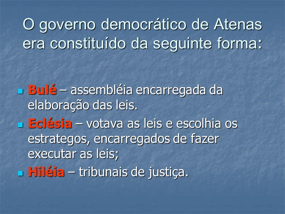 O governo democrático de Atenas era constituído da seguinte forma : Bulé – assembléia encarregada da elaboração das leis. Bulé – assembléia encarregad