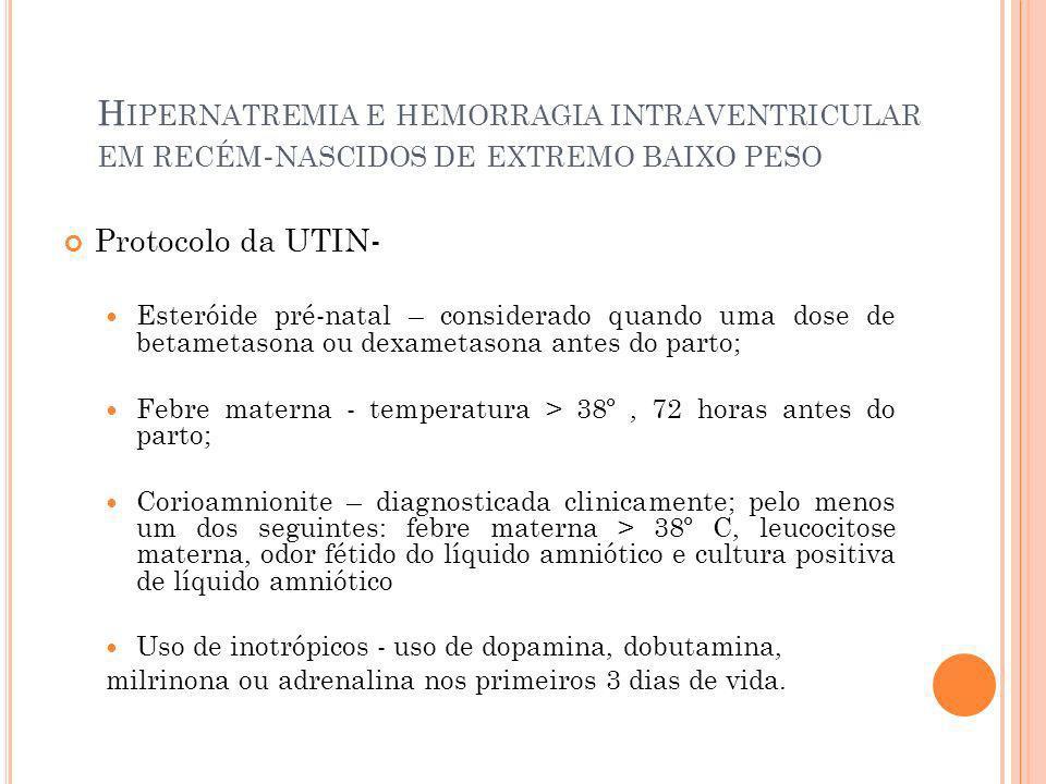 H IPERNATREMIA E HEMORRAGIA INTRAVENTRICULAR EM RECÉM - NASCIDOS DE EXTREMO BAIXO PESO Protocolo da UTIN- Esteróide pré-natal – considerado quando uma