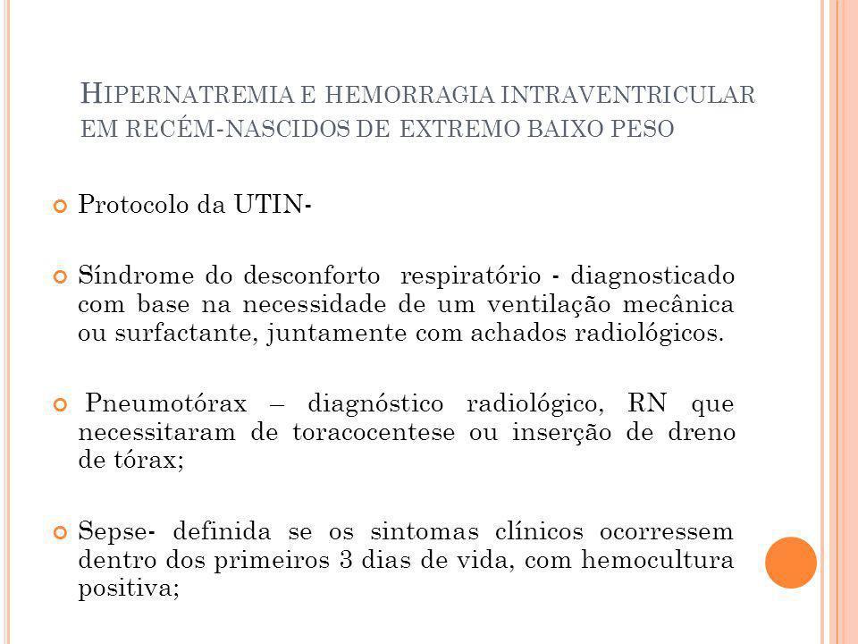 H IPERNATREMIA E HEMORRAGIA INTRAVENTRICULAR EM RECÉM - NASCIDOS DE EXTREMO BAIXO PESO Protocolo da UTIN- Síndrome do desconforto respiratório - diagn