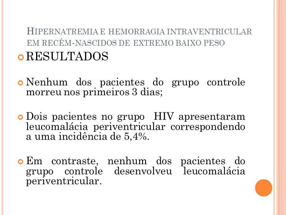 H IPERNATREMIA E HEMORRAGIA INTRAVENTRICULAR EM RECÉM - NASCIDOS DE EXTREMO BAIXO PESO RESULTADOS Nenhum dos pacientes do grupo controle morreu nos pr