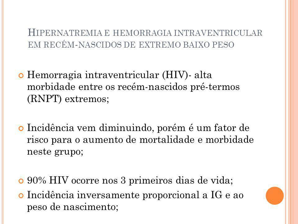 H IPERNATREMIA E HEMORRAGIA INTRAVENTRICULAR EM RECÉM - NASCIDOS DE EXTREMO BAIXO PESO Hemorragia intraventricular (HIV)- alta morbidade entre os recé