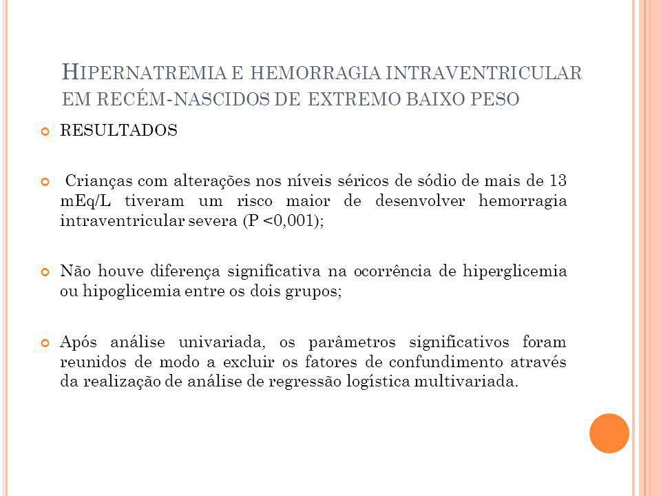 H IPERNATREMIA E HEMORRAGIA INTRAVENTRICULAR EM RECÉM - NASCIDOS DE EXTREMO BAIXO PESO RESULTADOS Crianças com alterações nos níveis séricos de sódio