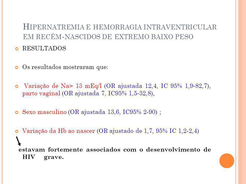 H IPERNATREMIA E HEMORRAGIA INTRAVENTRICULAR EM RECÉM - NASCIDOS DE EXTREMO BAIXO PESO RESULTADOS Os resultados mostraram que: Variação de Na> 13 mEq/