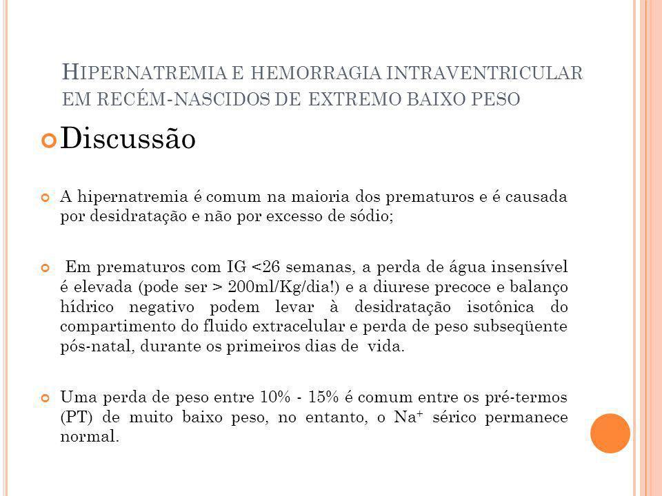 H IPERNATREMIA E HEMORRAGIA INTRAVENTRICULAR EM RECÉM - NASCIDOS DE EXTREMO BAIXO PESO Discussão A hipernatremia é comum na maioria dos prematuros e é