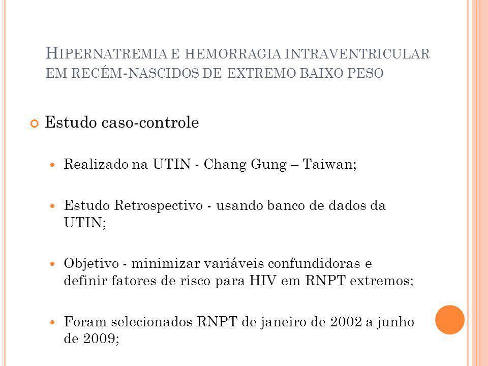 H IPERNATREMIA E HEMORRAGIA INTRAVENTRICULAR EM RECÉM - NASCIDOS DE EXTREMO BAIXO PESO Estudo caso-controle RN com peso ao nascer 1000g e IG 26 semanas; Com diagnóstico de HIV grau III/IV; Ultrassonografia de crânio (USG) crânio nos 3 primeiros dias- classificação de Papile et al; HIV III/IV – consideradas HIV graves; Excluídos - RN com malformações cerebrais, características dismórficas, anomalias congênitas sugestivas de síndromes genéticas ou metabólicas, anomalias cromossômicas e RN com infecção do SNC confirmada nos 3 primeiros dias de vida.