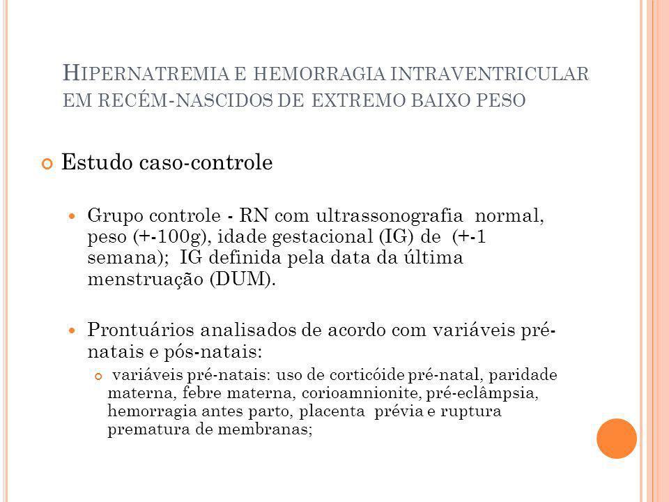 H IPERNATREMIA E HEMORRAGIA INTRAVENTRICULAR EM RECÉM - NASCIDOS DE EXTREMO BAIXO PESO Discussão Apesar do estudo ser limitado pelo tamanho da amostra relativamente pequena e natureza retrospectiva, O estudo mostrou uma associação significativa entre hipernatremia e HIV grave; Além disso, as flutuações de hemoglobina, parto vaginal, sexo masculino e as flutuações de sódio foram associados com um risco aumentado de hemorragia intraventricular grave; A relação causal da hipernatremia e HIV grave ainda precisa ser melhor esclarecida.